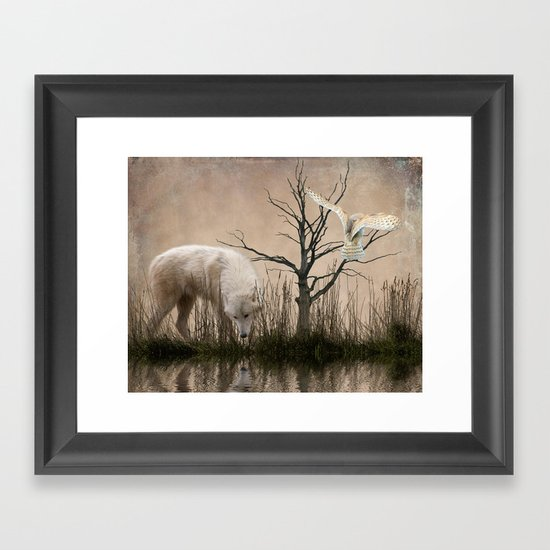 Woodland wolf reflected Framed Art Print