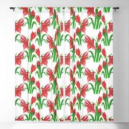 Christmas Amaryllis Flower Watercolor Decor Blackout Curtain