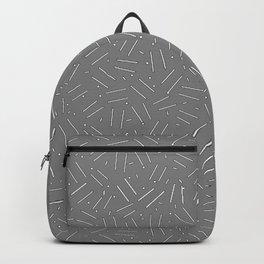 ski tracks pattern design grey and white Backpack