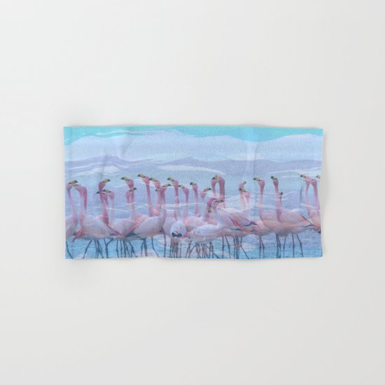 Flamingos #7, fun design Hand & Bath Towel