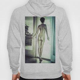 0092 Boyish Tall Brunette Nude Hoody