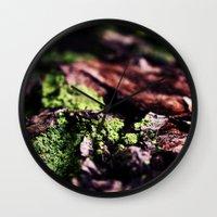 moss Wall Clocks featuring Moss by Sushibird