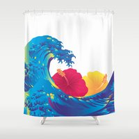 hokusai Shower Curtains featuring Hokusai Rainbow & Hibiscus_YR by FACTORIE