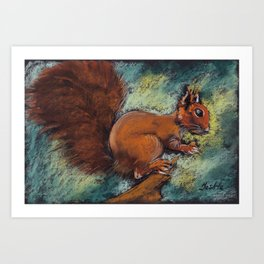 A squirrel with a bushy tail on a twig with a nut in its paws. Pastel drawing. Art Print