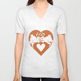 Valentine Rabbits In Big Heart Unisex V-Neck