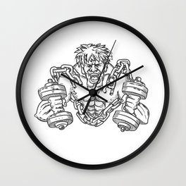 Buffed Athlete Dumbbells Breaking Free From Chains Drawing Wall Clock