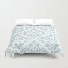 Scroll Damask Lg Pattern Duck Egg Blue on White Duvet Cover