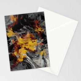 Yellow / Golden Abstract / Surrealist Landscape Painting Stationery Cards