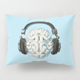 Mind Music Connection /3D render of human brain wearing headphones Pillow Sham