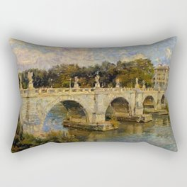 French Impressionistic Arched Bridge Rectangular Pillow