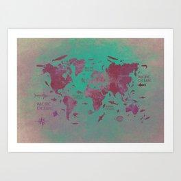 world map 66 green Art Print