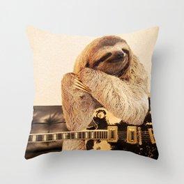 Rock Star Sloth 2# Throw Pillow