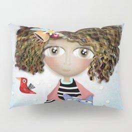 Art Doll - Kids Decor - Cat Winter snowing Pillow Sham