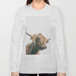 Majestic Highland cow portrait Long Sleeve T-shirt