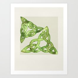 Celtic Knot:  Green Watercolor with triangle forms - two triskelons off kilter- traditional folk art Art Print