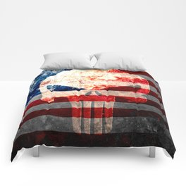 Skull and American Flag on Distressed Metal Comforters