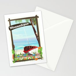 Mozambique fishing travel poster Stationery Cards