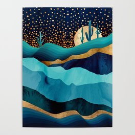 Indigo Desert Night Poster