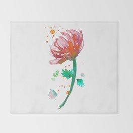 Warm Watercolour Fiordland Flower Throw Blanket
