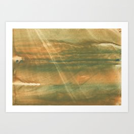 Brown green colored watercolor pattern Art Print