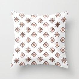 Snowflakes (Brown & White Pattern) Throw Pillow