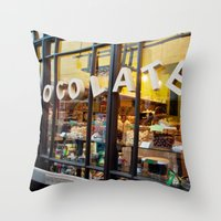 chocolate Throw Pillows featuring chocolate by The Last Sparrow