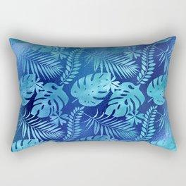 Iridescent Tropical Leaves in Elegant Blues and Aquas Rectangular Pillow