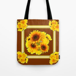 CHOCOLATE BROWN YELLOW SUNFLOWER BOUQUETS Tote Bag