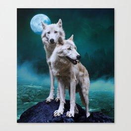 Moon River Wolves Canvas Print