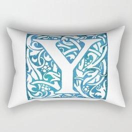 Letter Y Elegant Vintage Floral Letterpress Monogram Rectangular Pillow