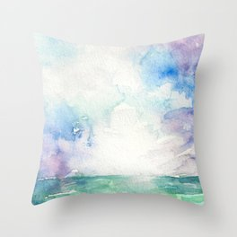 Colored Sky Watercolor Painting Throw Pillow