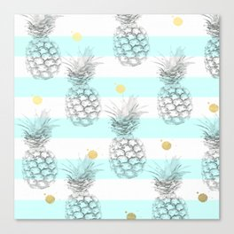 Pineapple express - aqua stripe gold splat Canvas Print