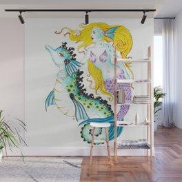 Mermaid And Seahorse Watercolor,Ink Art Wall Mural