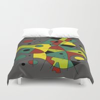 cello Duvet Covers featuring Abstract #226 The Cellist #2 by Ron (Rockett) Trickett
