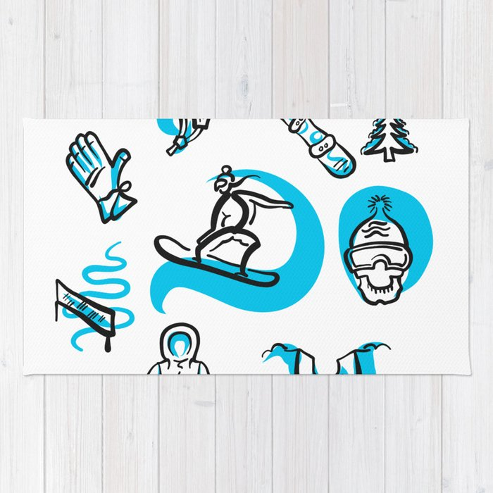Snowboarding freestyle collection hand drawn set Rug