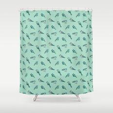 doodle birds - mint Shower Curtain