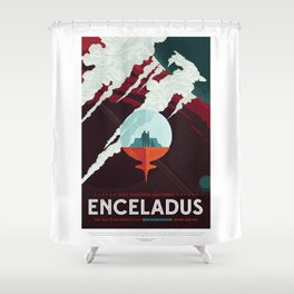 Enceladus - NASA Space Travel Poster Shower Curtain