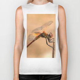 Painted Dragonfly Isolated Against Ecru Biker Tank