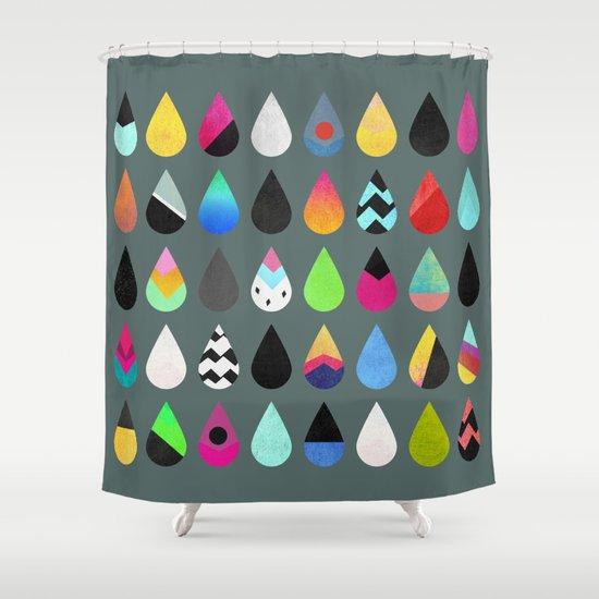 Colorful Rain Shower Curtain By Elisabeth Fredriksson