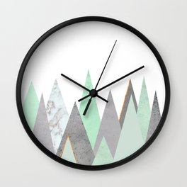 MINT COPPER MARBLE GRAY GEOMETRIC MOUNTAINS Wall Clock
