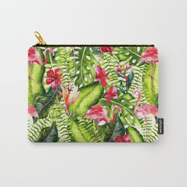 Aloha- Tropical Flamingo Bird and Hibiscus Palm Leaves Garden Carry-All Pouch