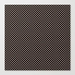 Black and Warm Taupe Polka Dots Canvas Print