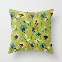 Dandelions & Dragonflies Throw Pillow