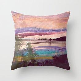Tropical Sunset Surfer Throw Pillow