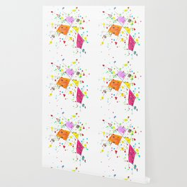 Abstract Arrows and Lines Watercolour Expressionist Art Wallpaper