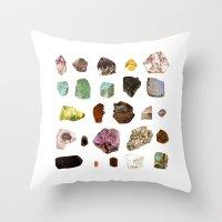 minerals Throw Pillows featuring Experiment 07: Rocks, minerals, gems by hollowwalls