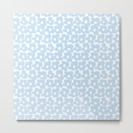 Mini Baby Blue Retro Flowers White Background #decor #society6 #buyart Metal Print