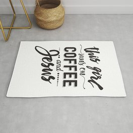 This girl runs on coffee and Jesus - Funny hand drawn quotes illustration. Funny humor. Life sayings. Sarcastic funny quotes. Rug