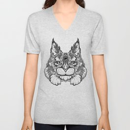 CAT maine coon  / LYNX head. psychedelic / zentangle style Unisex V-Neck