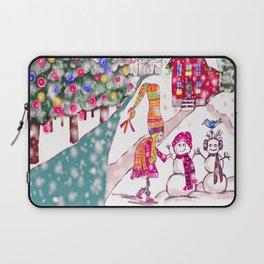 Merry Christmas Snowgirl Laptop Sleeve